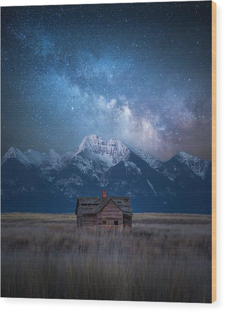 Dark Skies Last Frontier / Mission Mountains, Montana  Wood Print