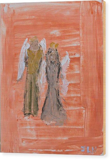 Dating Angels Wood Print