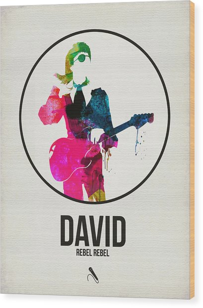 David Bowie Watercolor Wood Print