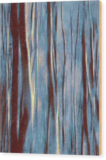 Dawn In The Winter Forest - Landscape Mood Lighting Wood Print