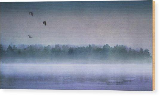 Dawn Of The Fog Wood Print