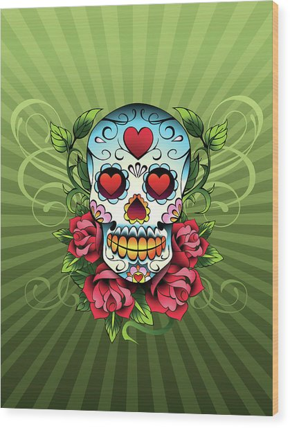 Day Of The Dead Skull Wood Print by New Vision Technologies Inc