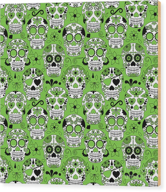 Day Of The Dead Sugar Skull Seamless Wood Print by Pinkpueblo