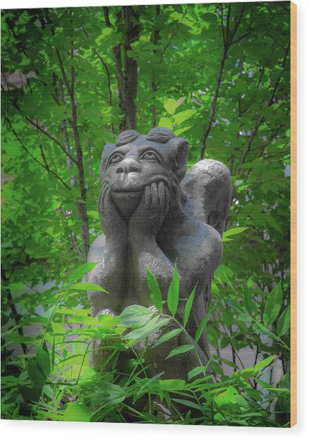 Daydreaming Gargoyle Wood Print