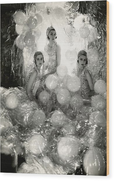 The Debutantes In Costume Wood Print by Cecil Beaton