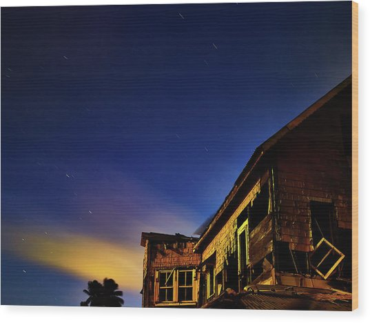 Decaying House In The Moonlight Wood Print