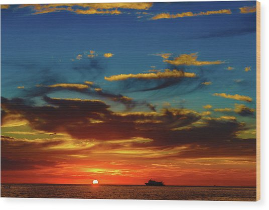 December 17 Sunset Wood Print