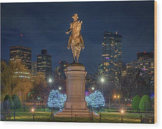 December Evening In Boston's Public Garden Wood Print