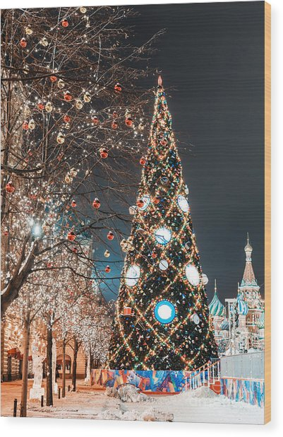 Decorations For New Year And Holidays Wood Print