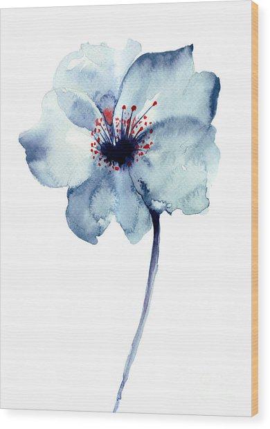 Decorative Blue Flower, Watercolor Wood Print