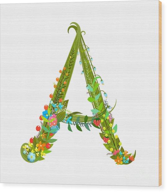 Decorative Botanical Elegant Alphabet Wood Print by Popmarleo