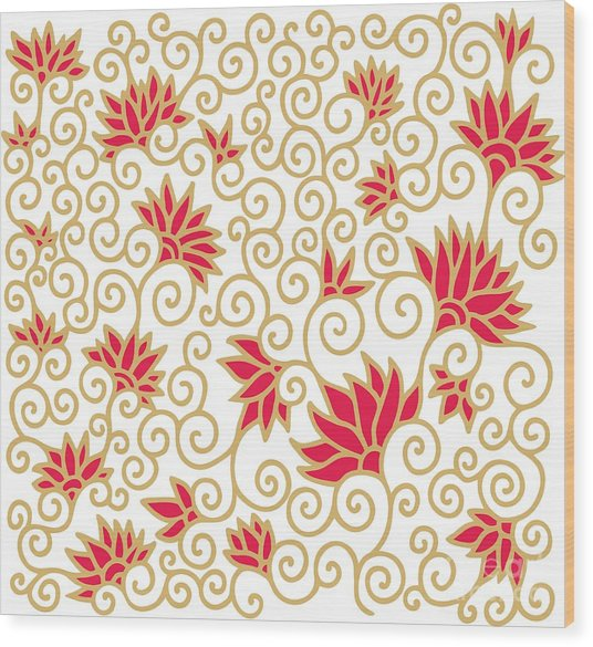 Decorative Floral Composition With Wood Print by Aniana