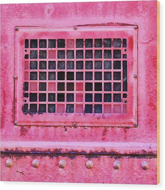 Deep Pink Train Engine Vent Square Format Wood Print