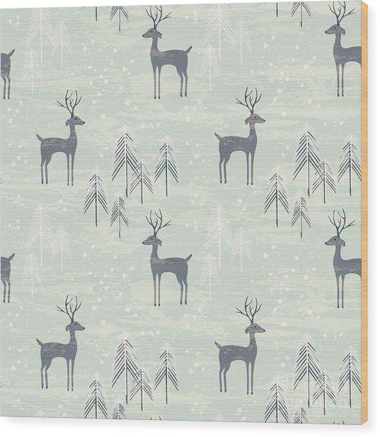 Deer In Winter Pine Forest. Seamless Wood Print