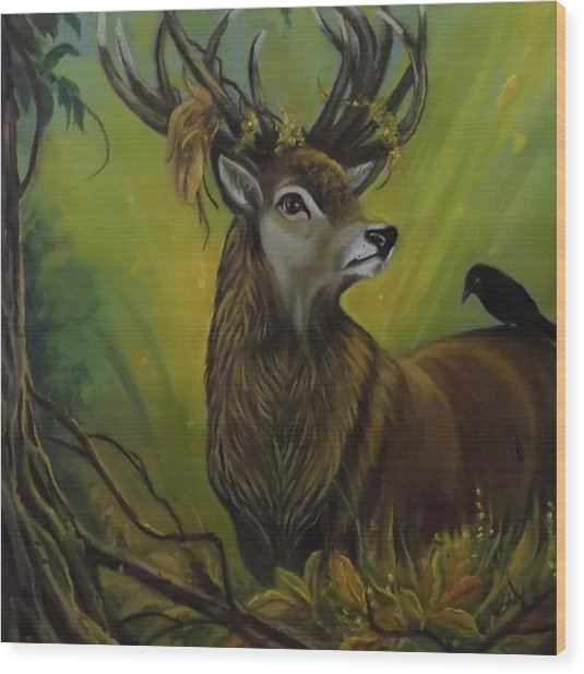 Deer Stag And The Crow Wood Print by Janet Silkoff