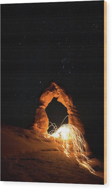 Wood Print featuring the photograph Delicate Arch Steel Wool by Nathan Bush