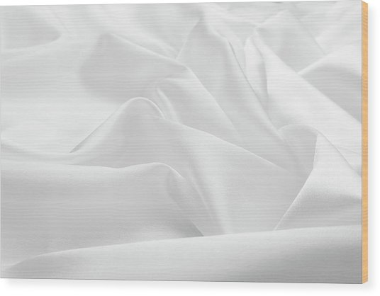 Delicate White Satin Silk Background Wood Print