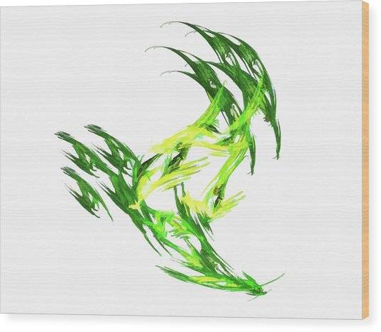 Deluxe Throwing Star Green Wood Print