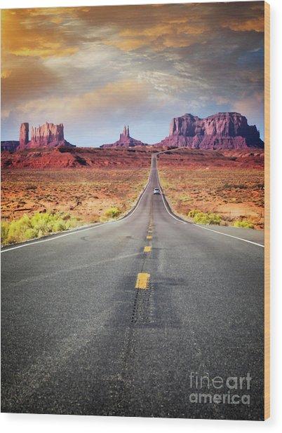 Desert Drive Wood Print