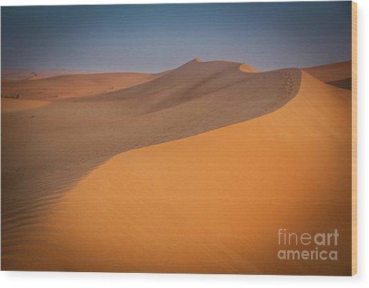 Desert Landscape In Dubai Wood Print