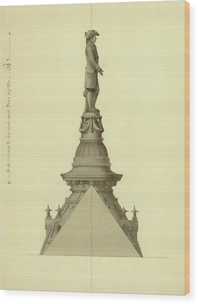 Design For City Hall Tower Wood Print