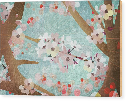 Detail Of Cherry Blossoms Wood Print