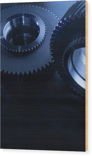 Detail Of Matching Gears In Blue Wood Print by Caracterdesign