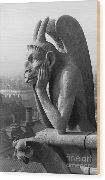 Detail Of Monstrous Figures Located On One Of The Two Terraces In The Cathedral Of Notre-dame, Paris Wood Print