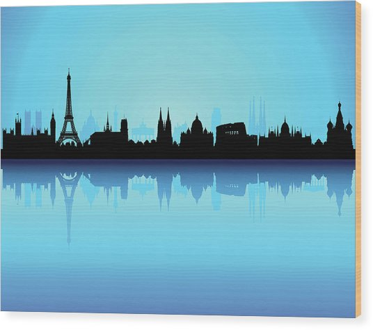 Detailed Europe Skyline Each Building Wood Print by Leontura