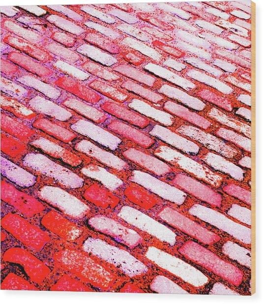 Diagonal Street Cobbles Wood Print
