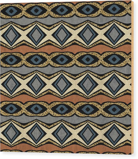 Diamond And Eye Motif With Leopard Accent Wood Print