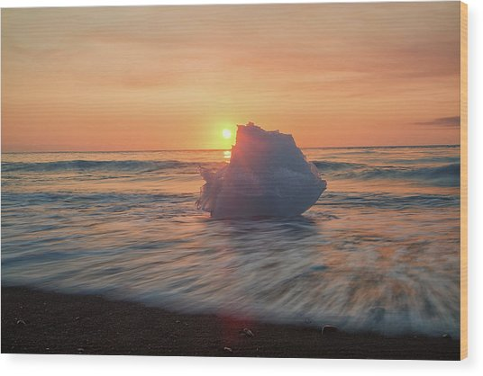 Diamond Beach Sunrise Iceland Wood Print