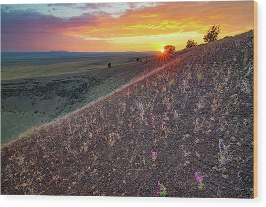 Diamond Craters Sunset Wood Print by Leland D Howard