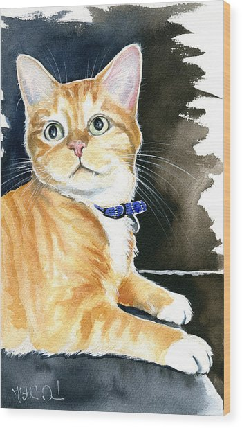 Diego Ginger Tabby Cat Painting Wood Print