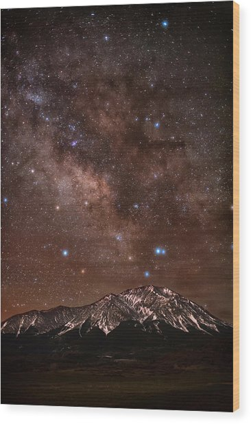Diffused Milk Over The Spanish Peaks Wood Print by Mike Berenson / Colorado Captures