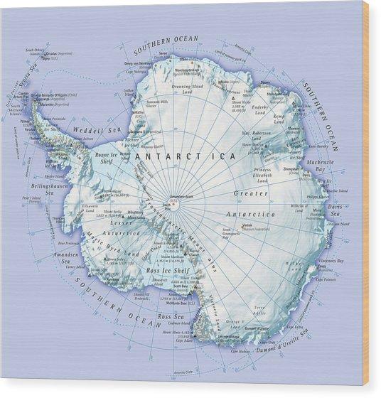 Digital Illustration Of Antarctica Wood Print by Dorling Kindersley