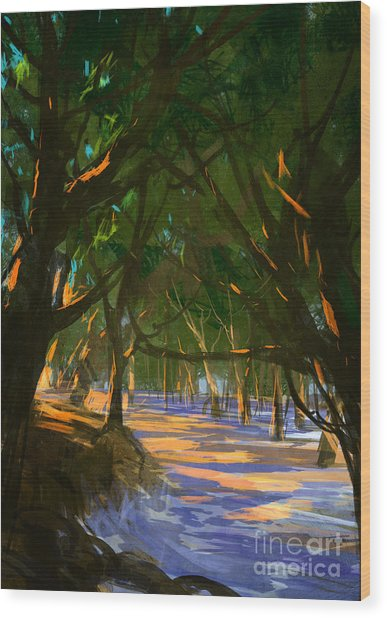 Digital Painting Of Forest On The Wood Print