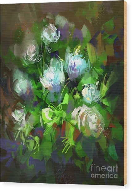 Digital Painting Showing Bunch Of White Wood Print