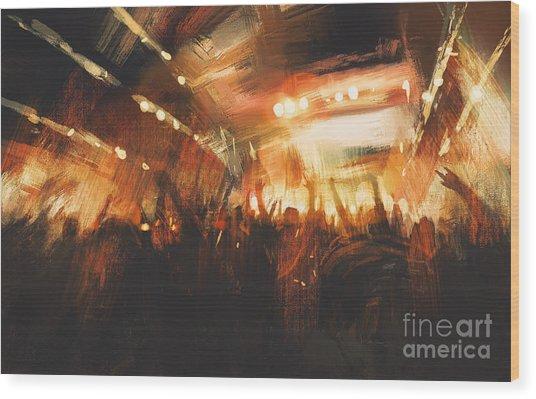 Digital Painting Showing Cheering Crowd Wood Print