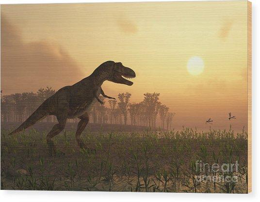 Dinosaur In Landscape Wood Print