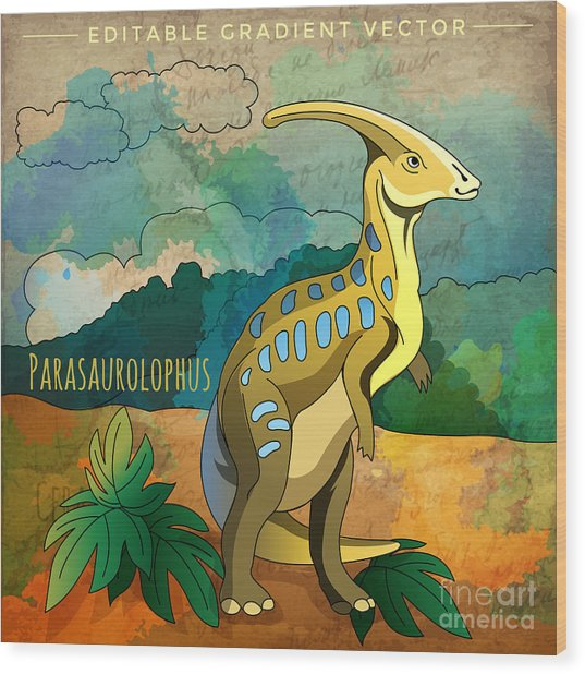 Dinosaur In The Habitat. Vector Wood Print by Conceptcafe