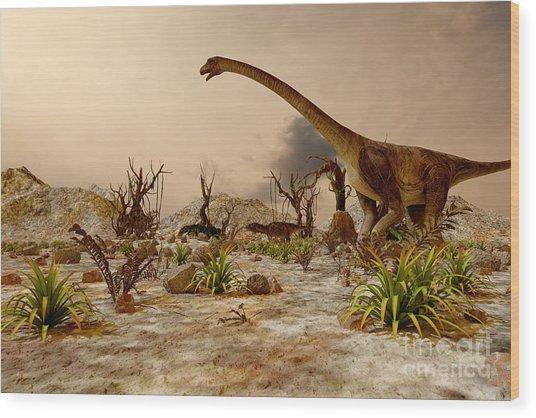 Dinosaur. Prehistoric Jungle Wood Print