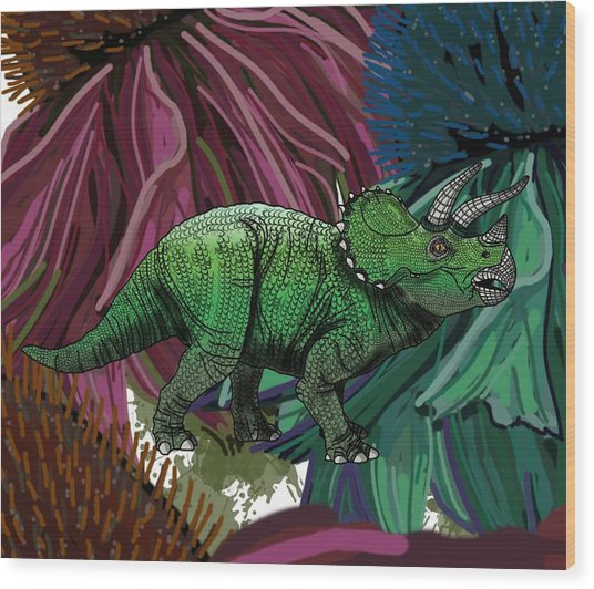 Wood Print featuring the drawing Dinosaur Triceratops Flowers by Joan Stratton