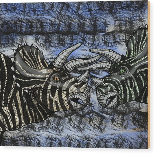 Dinosaur Triceratops Head On Battle Wood Print