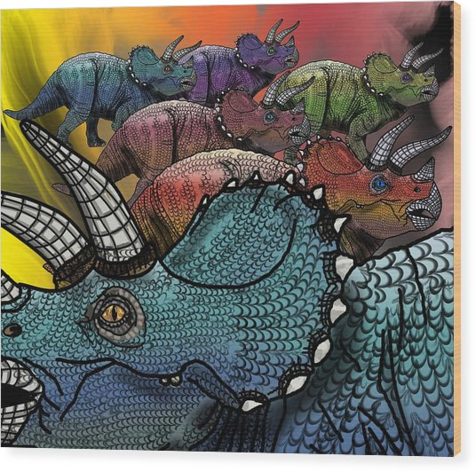 Wood Print featuring the drawing Dinosaur Triceratops Herd by Joan Stratton