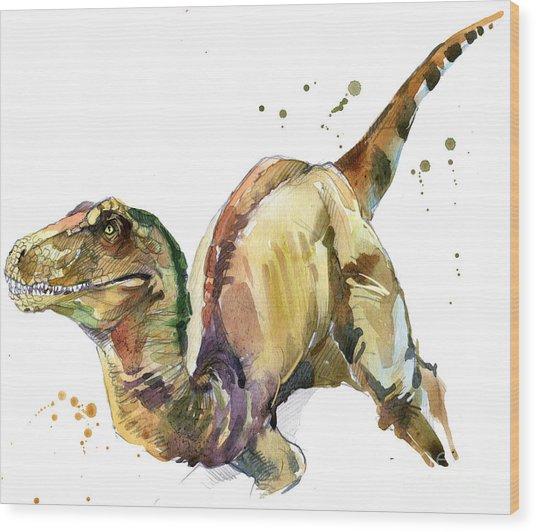 Dinosaur Watercolor Illustration Wood Print