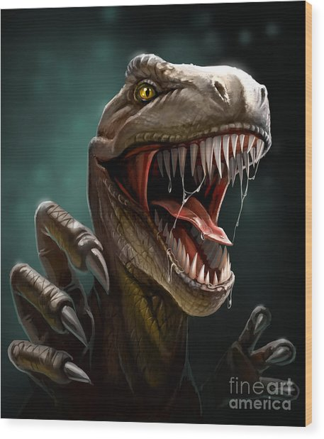 Dinosaur With Teeth And Claws, Close-up Wood Print