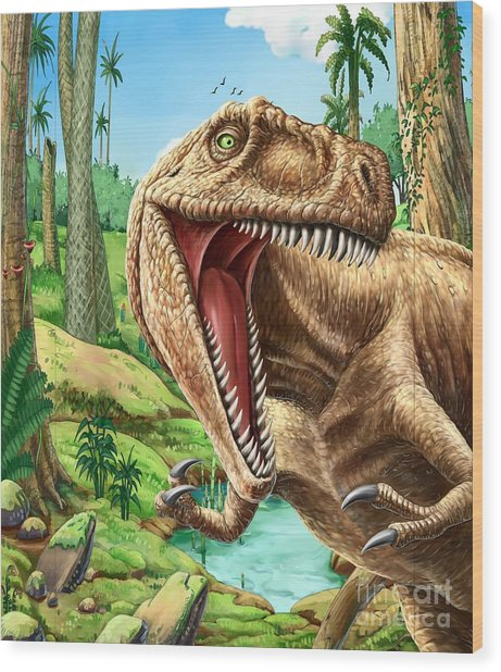 Dinosaurs Living In The Jungle Wood Print