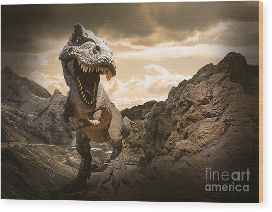 Dinosaurs Model On Rock Mountain Wood Print