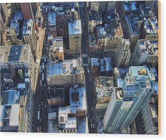 Directly Above Shot Of City Wood Print by Gavin Pugh / Eyeem